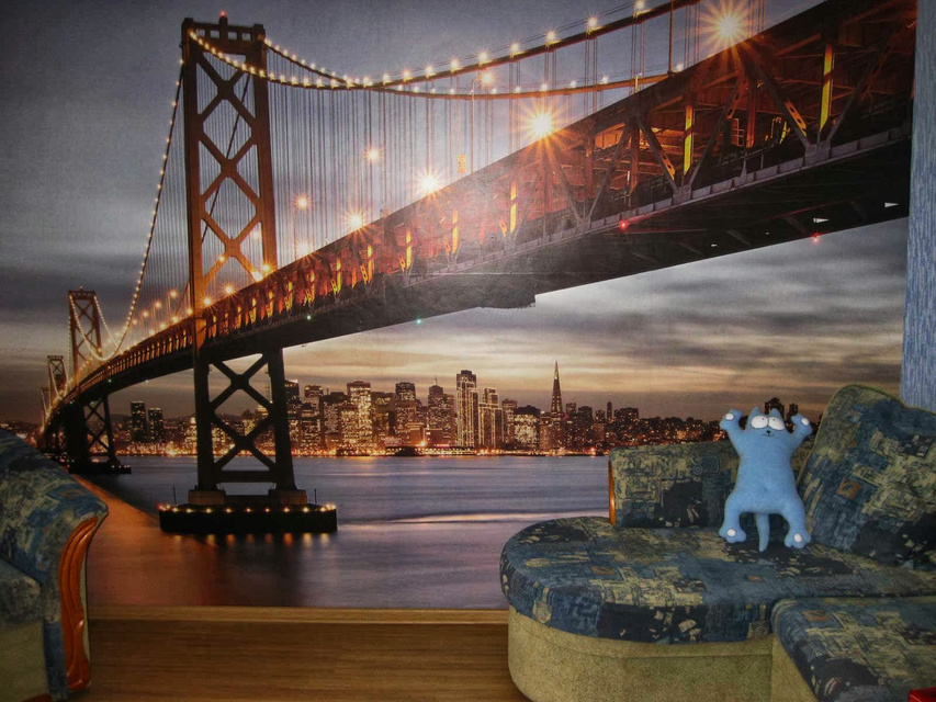 Интерьер с фотообоями бруклинский мост фото