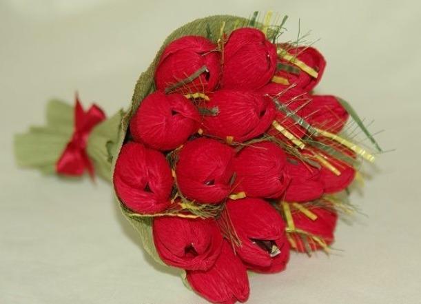 Букет тюльпанов из конфет пошаговое для начинающих