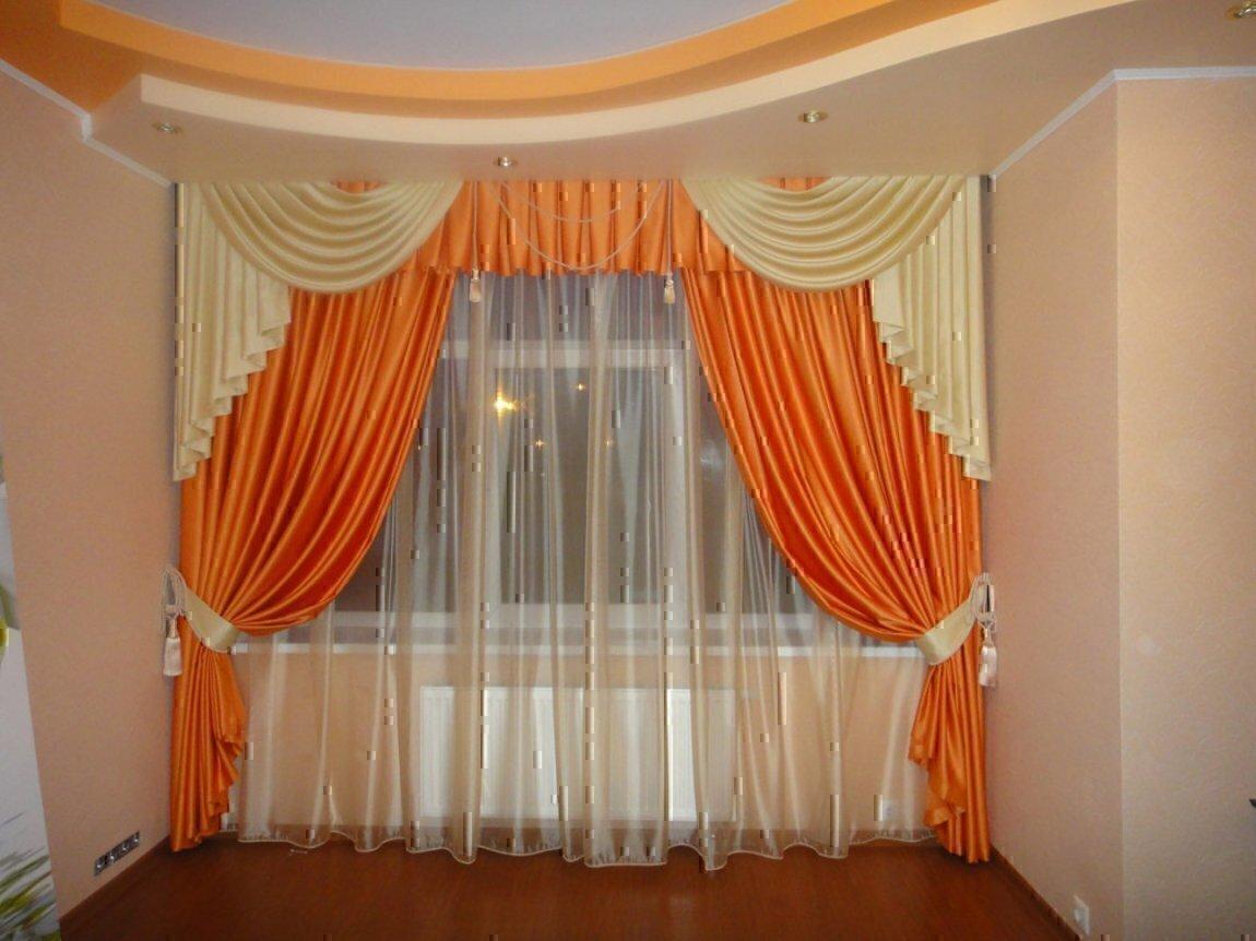 Шторы оранжевого цвета фото