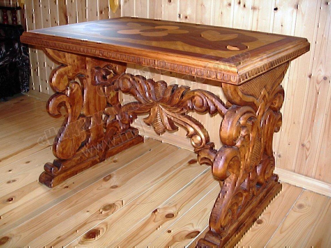 Резные столы своими руками из дерева