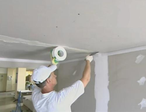 Затирка потолка из гипсокартона своими руками