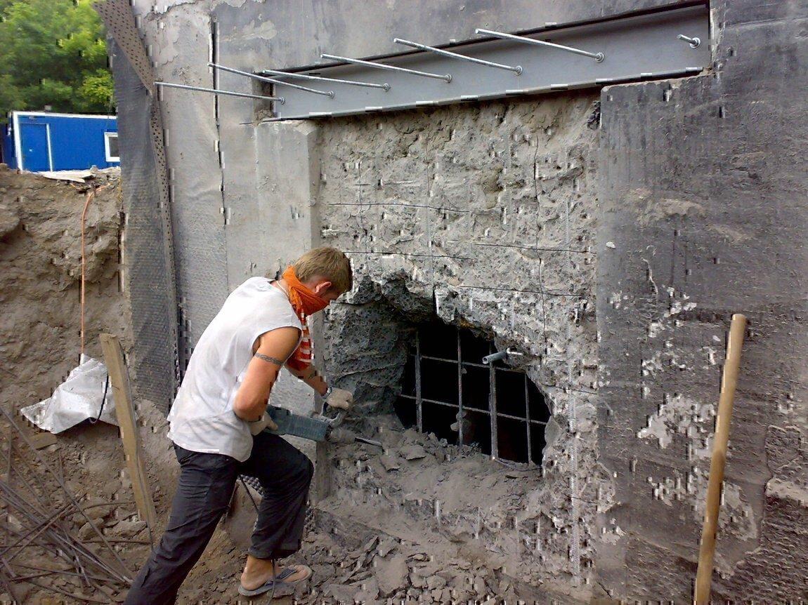 Заливка стен из шлака