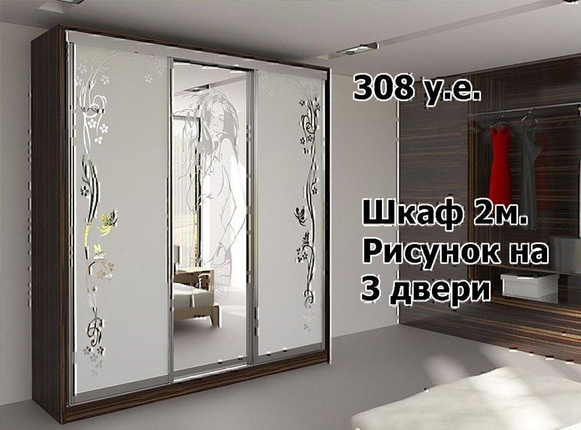 """Шкаф купе с """"пескоструем""""."""