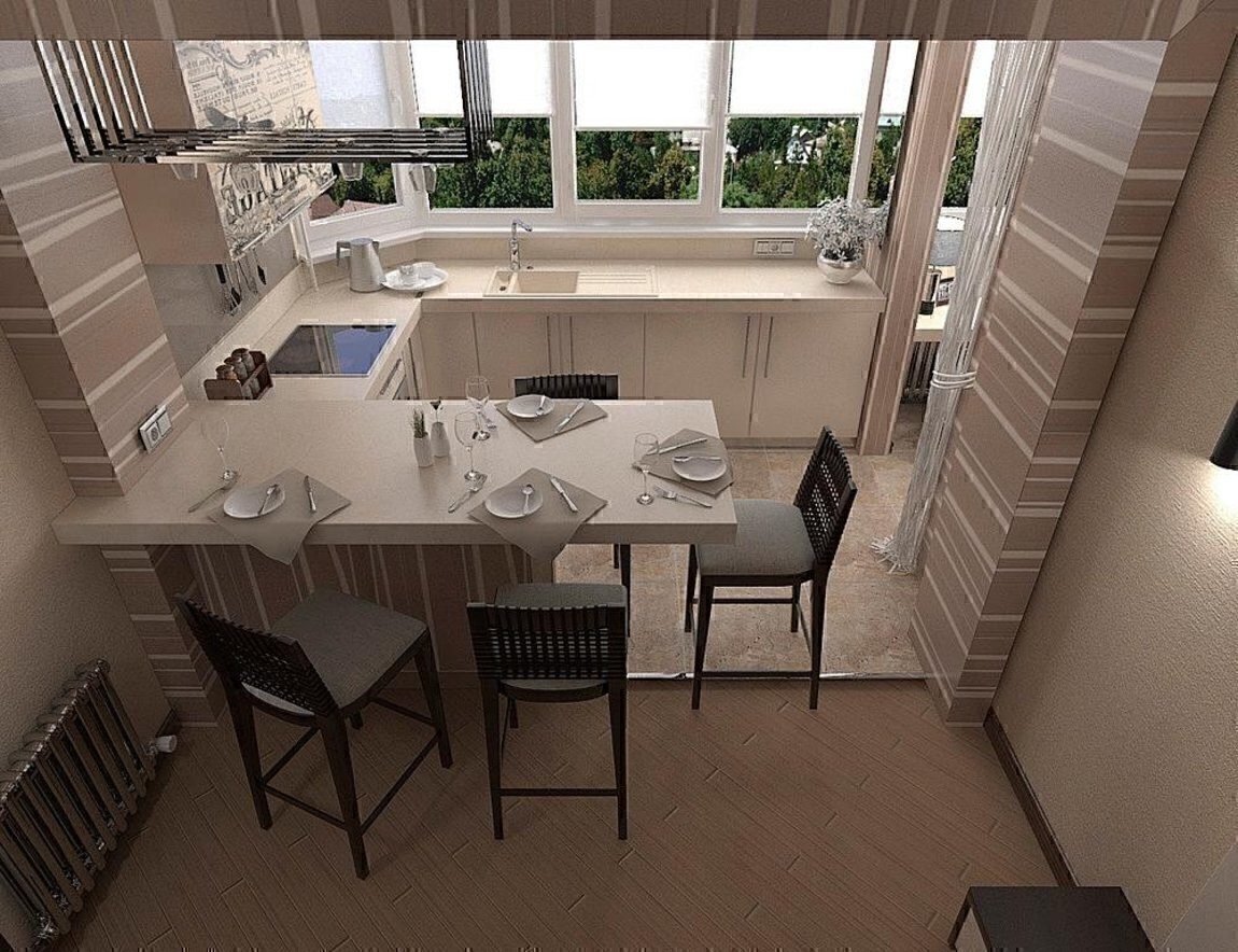 """Кухня на балконе в бежевом цвете"""" - карточка пользователя ve."""