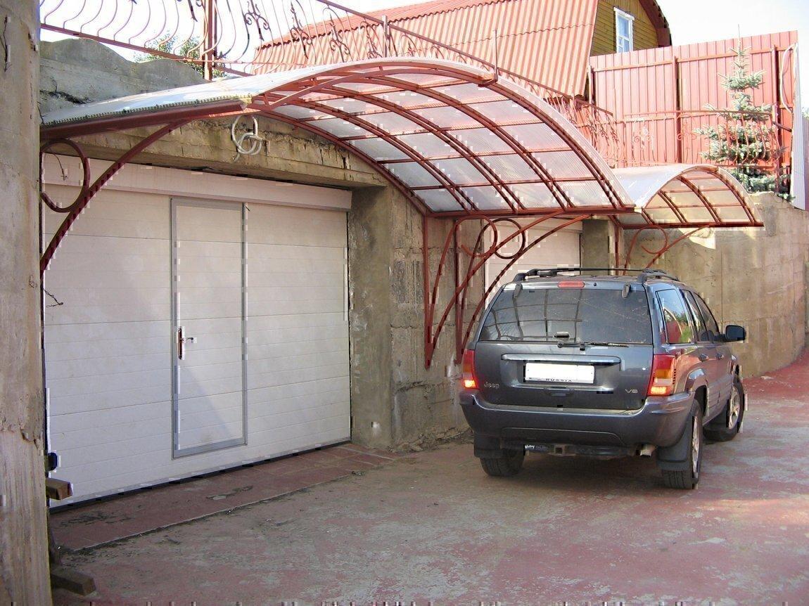 Козырек для гаража своими руками
