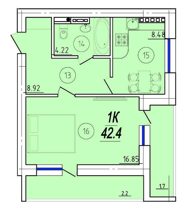 Однокомнатная квартира - очень удобная планировка 23320.