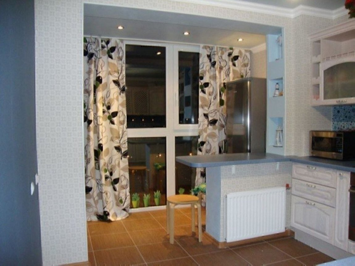Кухня и лоджия вместе фото.