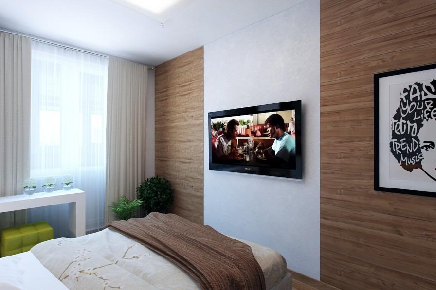 Телевизор на стене в интерьере спальни фото