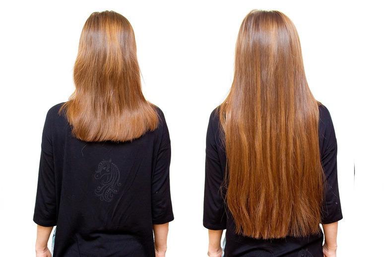 как выглядят волосы до и после наращивания