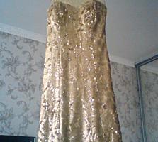 Вечернее оригинальное шикарное платье S-золото привезено из Турции
