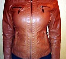 Курточка горчичный кожзам 46-48 размер 175 рост отл. состояние
