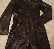 Кожаное утеплённое пальто