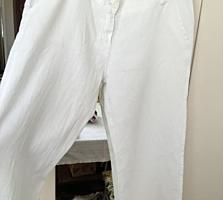 Pantaloni albi din in, foarte calitativi, în stare ideală, mărimea XL,