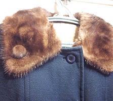 Пальто с натуральным мехом, норка, большой размер 54 - 58