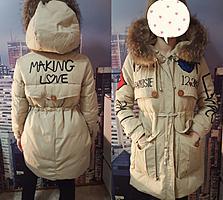 Новая куртка - парка с натур. мехом. р-р 46-48 990 руб.