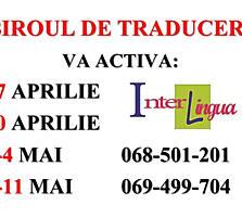 Traduceri. LUCRAM 30 aprilie, 1-4 mai, 7-11 mai.