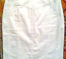 Юбка HEINE белая, стрейч, плотный хлопок, размер S