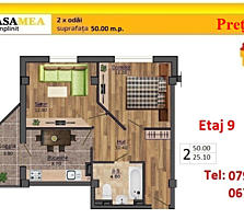 Botanica! Apartament 2 odai 50 m. p - 29 900 €! Bloc dat in exploatare