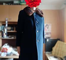 Пальто с натуральным мехом, норка, большой размер 54 - 58.
