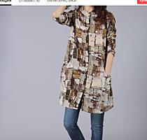 Продается женская блуза удлиненная - лен размер 48-50