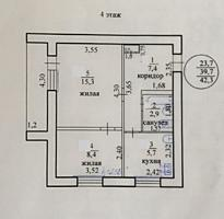 "Двухкомнатная квартира 42 м2, ул. Севстопольская №28""а"", 4 этаж, 7500$"
