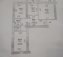 ЦЕНТР 3-к кв. серый вариант 76/41,8/12,6 две лоджии 6,7 и 2,6 кв. м.
