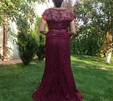 Платье вечернее новое -кружевная ткань, цвет гнилая вишня, USA, р-48