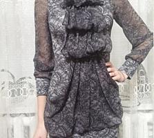 Женское комбинированное платье, рукава шифоновые, размер 38,