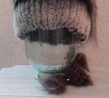 Шикарная шапка шиншилла+чернобурка новая