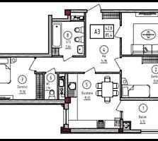 Apartament cu 3 camere Buiucani, Paris