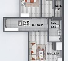 Apartament cu 3camere și suprafața de 94 m2, în complexul Newton ...