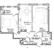 Apartament cu 2 camereși suprafața de 78 m2. Complex locativ nou, ...