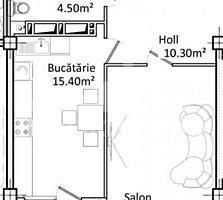 Apartament cu 1cameră+living și suprafața de 52m2. Complex locativ