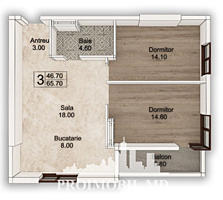 Spre vânzare apartament cu 2 camere cu living în complexul ...