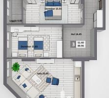 Apartament cu 3camere și suprafața de  90 m2, în complexul Newton .