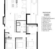 Apartament de tip Penthousecu 4 camere, bucătărie, bloc sanitar, ...