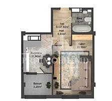 Apartament cu o cameră și suprafața de 47 m2. Complex locativ nou, ..