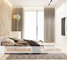 Apartament cu 3 odăi (2 dormitoare + living). Varianta alba+proiect