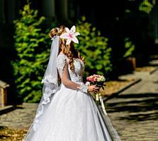 Шикарное свадебное платье. +фата+кольца