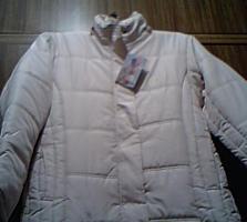 Светло-кремовое женское пальто, синтепон, 54 (Новое)