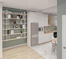 Большая двушка-студия с евроремонтом под ключ (мебель и техника)