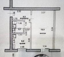 1-к просторная жилая квартира 5/5 34/19/6,2 лоджия 6 кв. м. застеклен