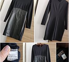 Чёрное платье с кожаной вставкой