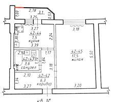 Хомутяновка 1-к жилая квартира 1/5 35,8/17,5/7,5 лоджия 3,1 кв. м.