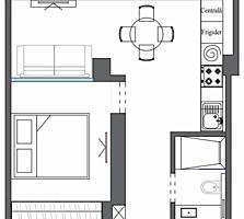 Aкция! Однушка с удобной планировкой 34,6 м2 (салон с кухней + спальня