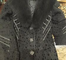 Пальто зимнее длинное 48 размер 4 рост, воротник черный песец, 800 грн