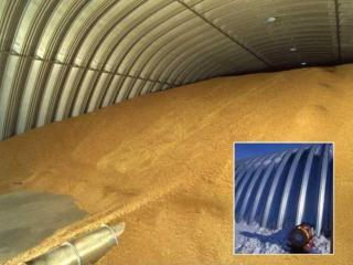 Зернохранилища напольного типа - арочные зерносклады