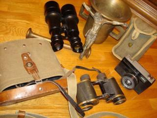 Бинокль 1941 г., фотоаппарат, статуэтка-бронза, ступа.
