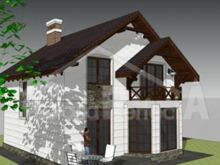 Casa din cotilet 120 mp cu arhitectura clasica.