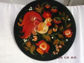 Сувенирная расписная тарелка (дерево)..